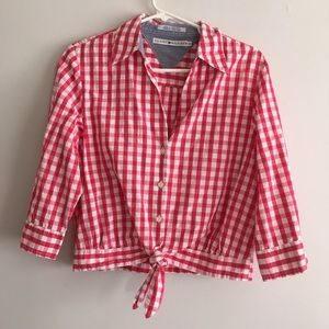 Tommy Hilfiger checker plaid button down knot top
